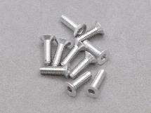 3 x 10mm Machine Type 7075-T6 Countersunk Hex Screw (Silver 10 Pcs)