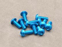 3 x 8mm Machine Type 7075-T6 Button Head Hex Screw (Blue10 Pcs)