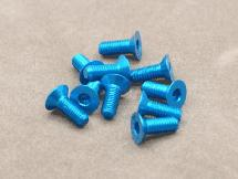 3 x 8mm Machine Type 7075-T6 Countersunk Hex Screw (Blue 10 Pcs)