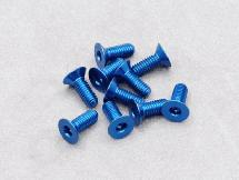 3 x 8mm Machine Type 7075-T6 Countersunk Hex Screw (Dark Blue 10 Pcs)