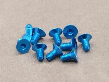 3 x 6mm Machine Type 7075-T6 Countersunk Hex Screw (Blue 10 Pcs)
