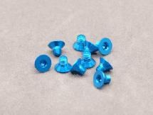 3 x 4mm Machine Type 7075-T6 Countersunk Hex Screw (Blue 10 Pcs)