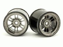 RIDE Black-Luster Rear Wheels for HPI Formula Ten w/ 63mm Rubber Tires