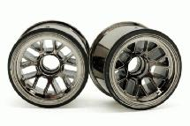 RIDE Black-Luster Front Wheels for Tamiya F104 w/ 63mm Rubber Tires