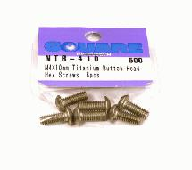 Square R/C M4 x 10mm Titanium Button Head Hex Screws (6 pcs.)