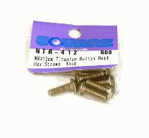 Square R/C M4 x 12mm Titanium Button Head Hex Screws (6 pcs.)