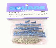 Square R/C Titanium & Blue Aluminum Hex Screw Set (Tamiya TRF 103)