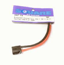 Square R/C European Connectors - Small Male with Housing, 14Ga. Wire (100mm)