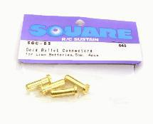 Square R/C Gold Bullet Connectors for LiPo Batteries, 5mm (4 pcs.)
