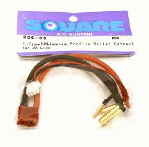 Square R/C T-Type 2P and 5mm Low-Profile Bullet Connector (2S LiPo)