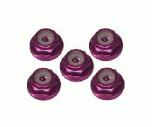 Square R/C 2mm Aluminum Lock Nuts, Flanged (Purple) 5 pcs.