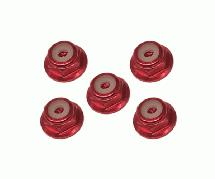 Square R/C 2mm Aluminum Lock Nuts, Flanged (Red) 5 pcs.