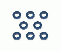 Square R/C M3 Aluminum Ball Stud Washers, 1.5mm Thick (Blue) 8 pcs.