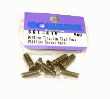 Square R/C M4 x 15mm Titanium Flat Head Phillips Screws (6 pcs.)