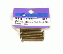Square R/C M3 x 25mm Titanium Flat Head Hex Screws (6 pcs.)