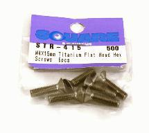 Square R/C M4 x 15mm Titanium Flat Head Hex Screws (6 pcs.)