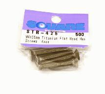 Square R/C M4 x 25mm Titanium Flat Head Hex Screws (4 pcs.)