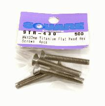 Square R/C M4 x 30mm Titanium Flat Head Hex Screws (4 pcs.)