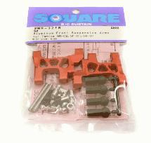 Square R/C Aluminum Front Suspension Arms (for Tamiya Wild Willy 2) Red
