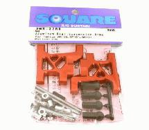 Square R/C Aluminum Rear Suspension Arms (for Tamiya Wild Willy 2) Red