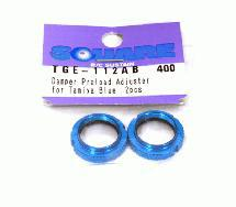 Square R/C Aluminum Damper Preload Adjuster for Tamiya, Blue (2 pcs.)