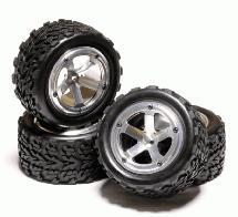 Billet Alloy Type II Beadlock Wheel & Tire Set (4) for 1/10 Stampede 2WD Rustler