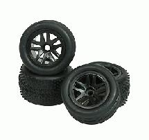 3Racing 5 Spoke Tyre Set For Losi Micro-T (4pcs)- Black